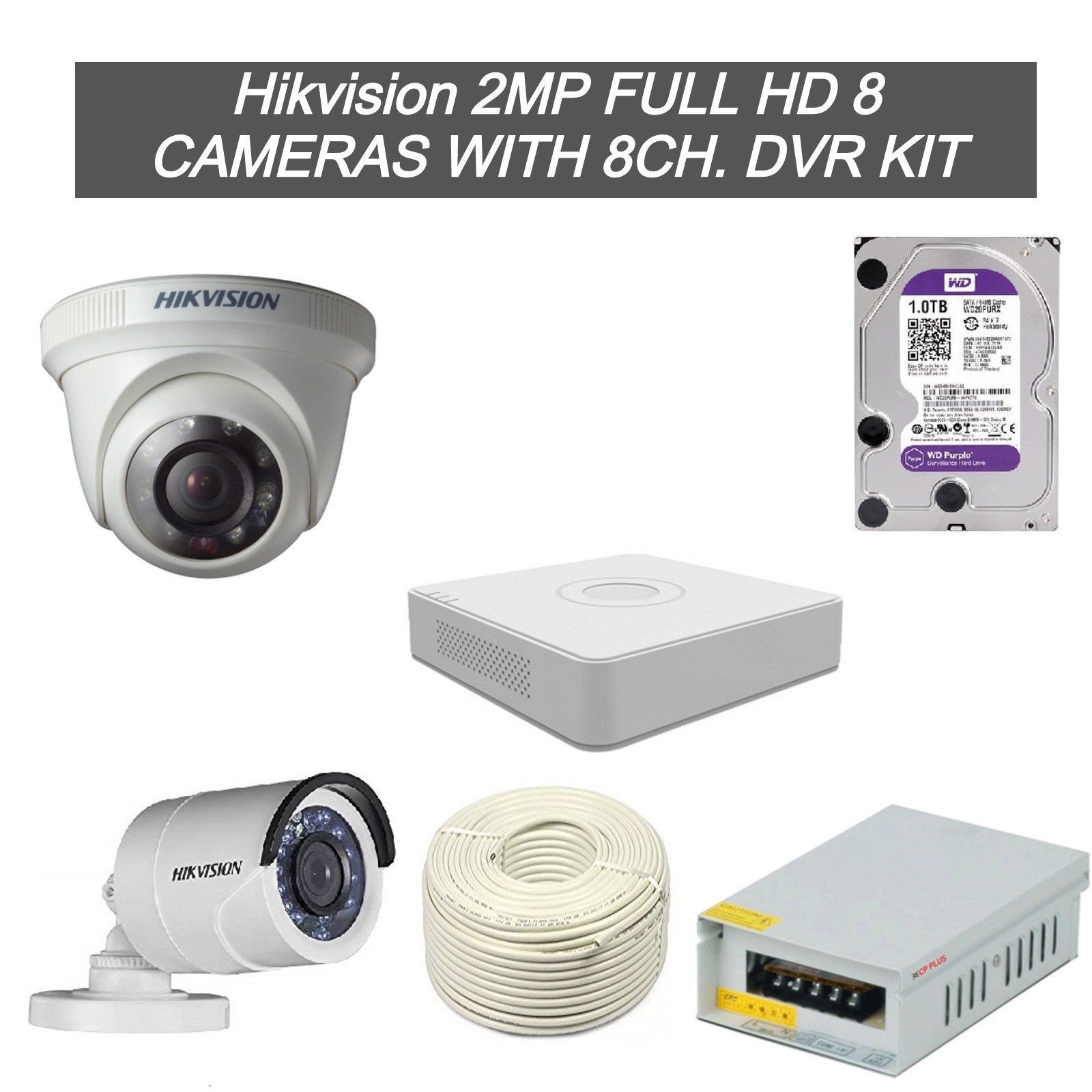 Hikvision 2MP Full HD 8 CCTV Cameras with 8Ch. DVR Kit